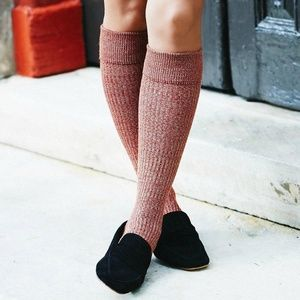 Free People Red Bellevue Marled Knit Knee Socks